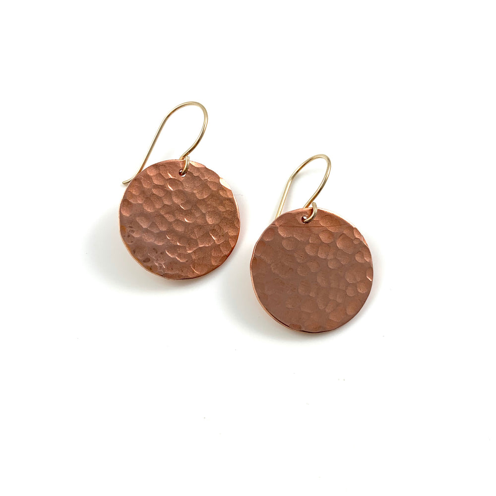 Single Large Copper Disc Earrings