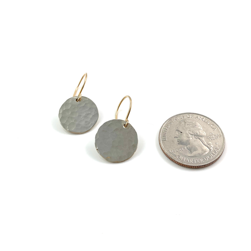 Sterling Single Hammered Midi Disc Earrings