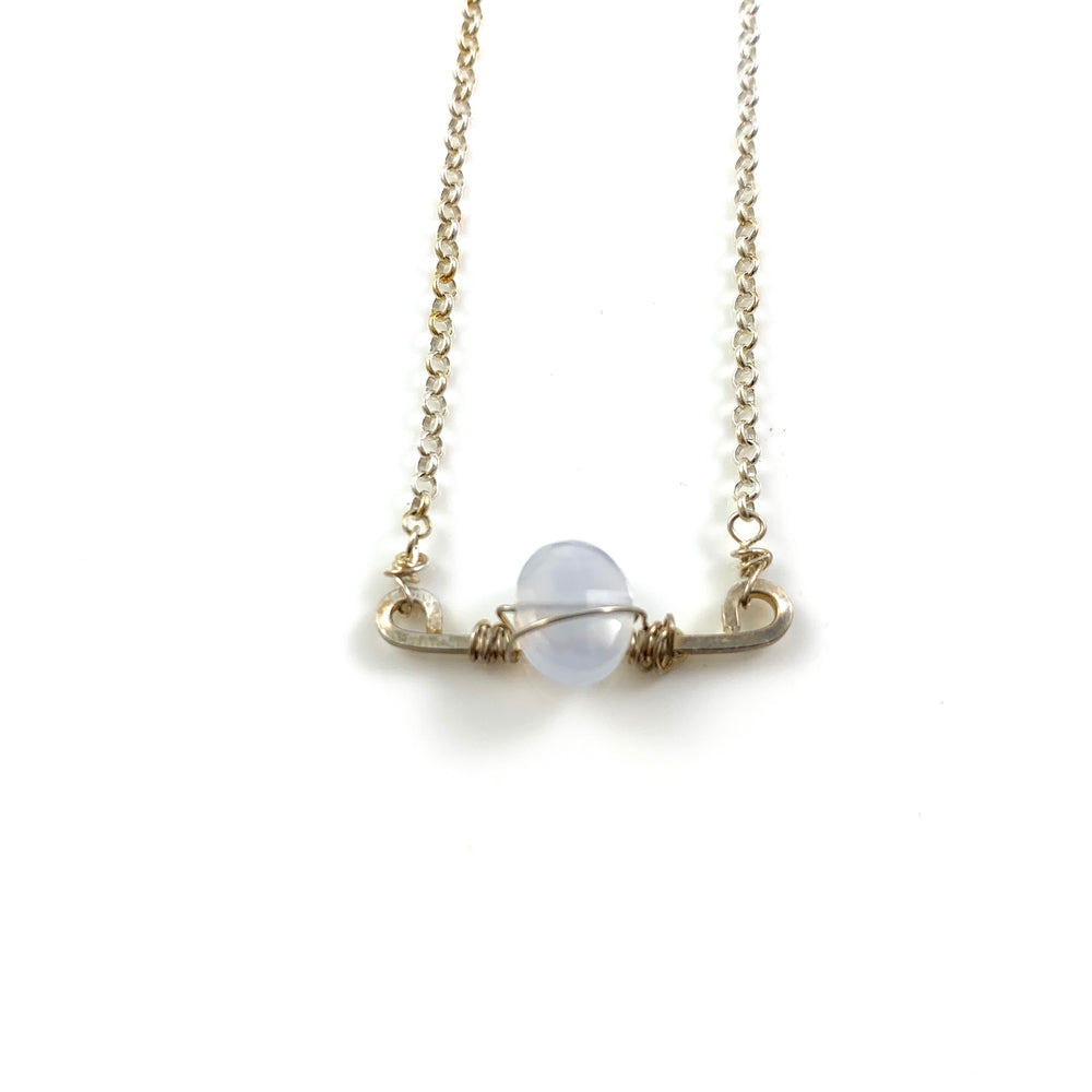 Mini Bar with Gemstone Necklace - Blue Chalcedony