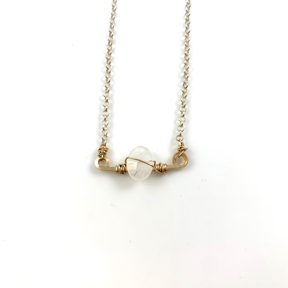 Mini Bar with Gemstone Necklace - White Moonstone
