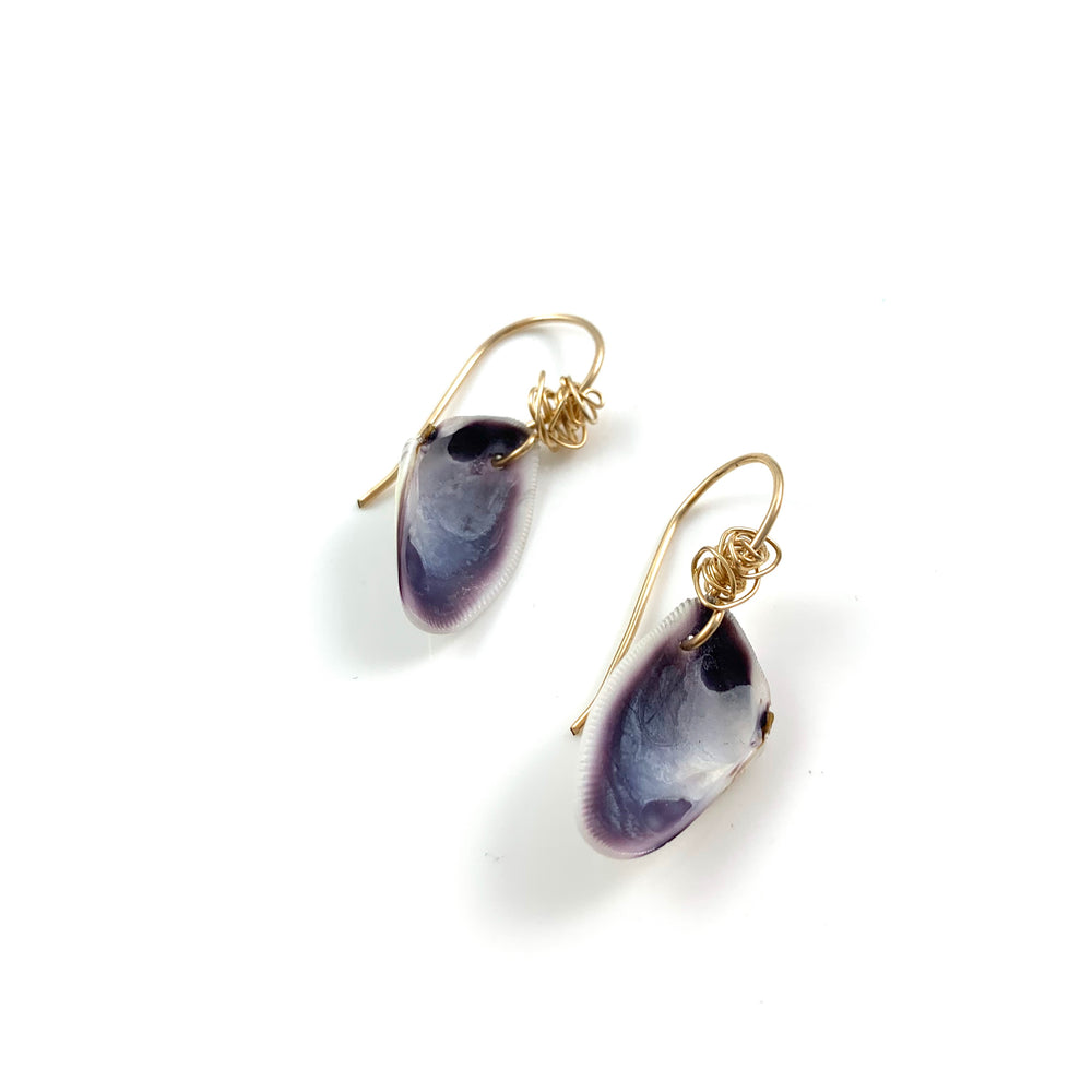 Purple Clam Shell Earrings