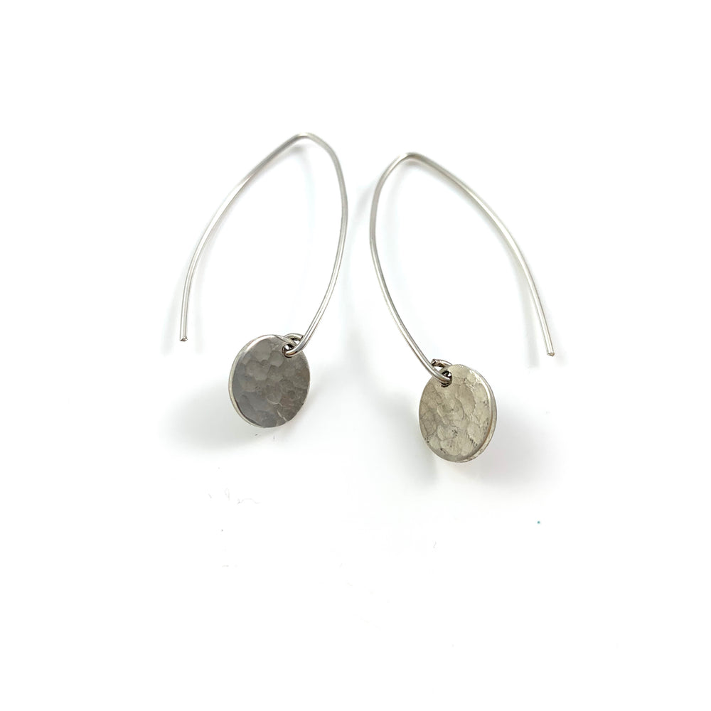 Mini Sterling Silver Disc Long Earrings