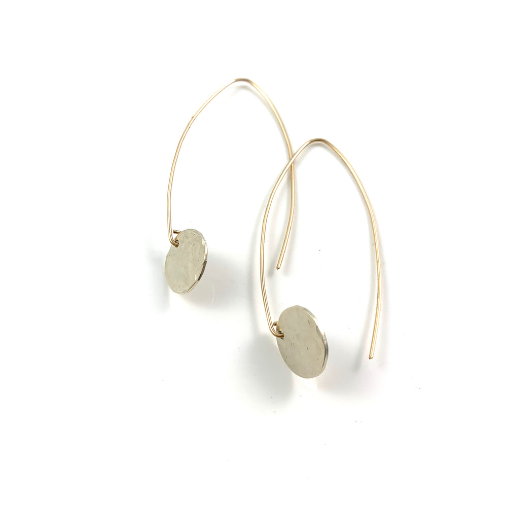 Mini Midi Sterling Silver Disc with 14k Gold Fill Hook Earrings