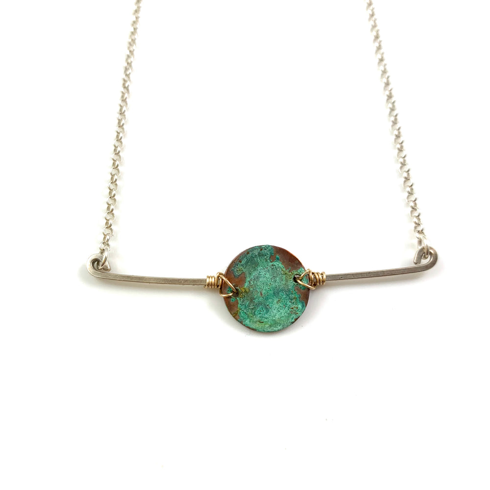 Sterling Bar and Green Patina Disc Necklace