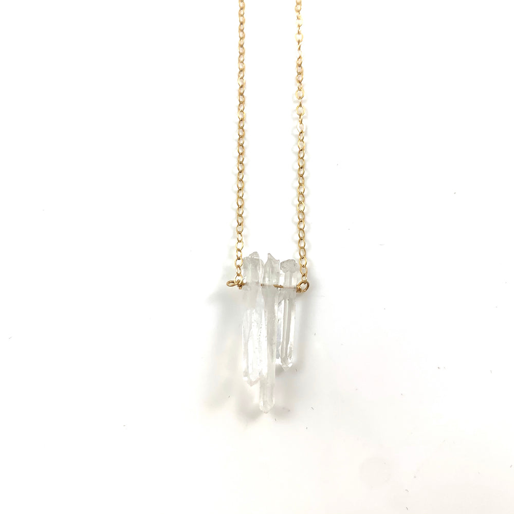 Three Crystal Points Simple Necklace