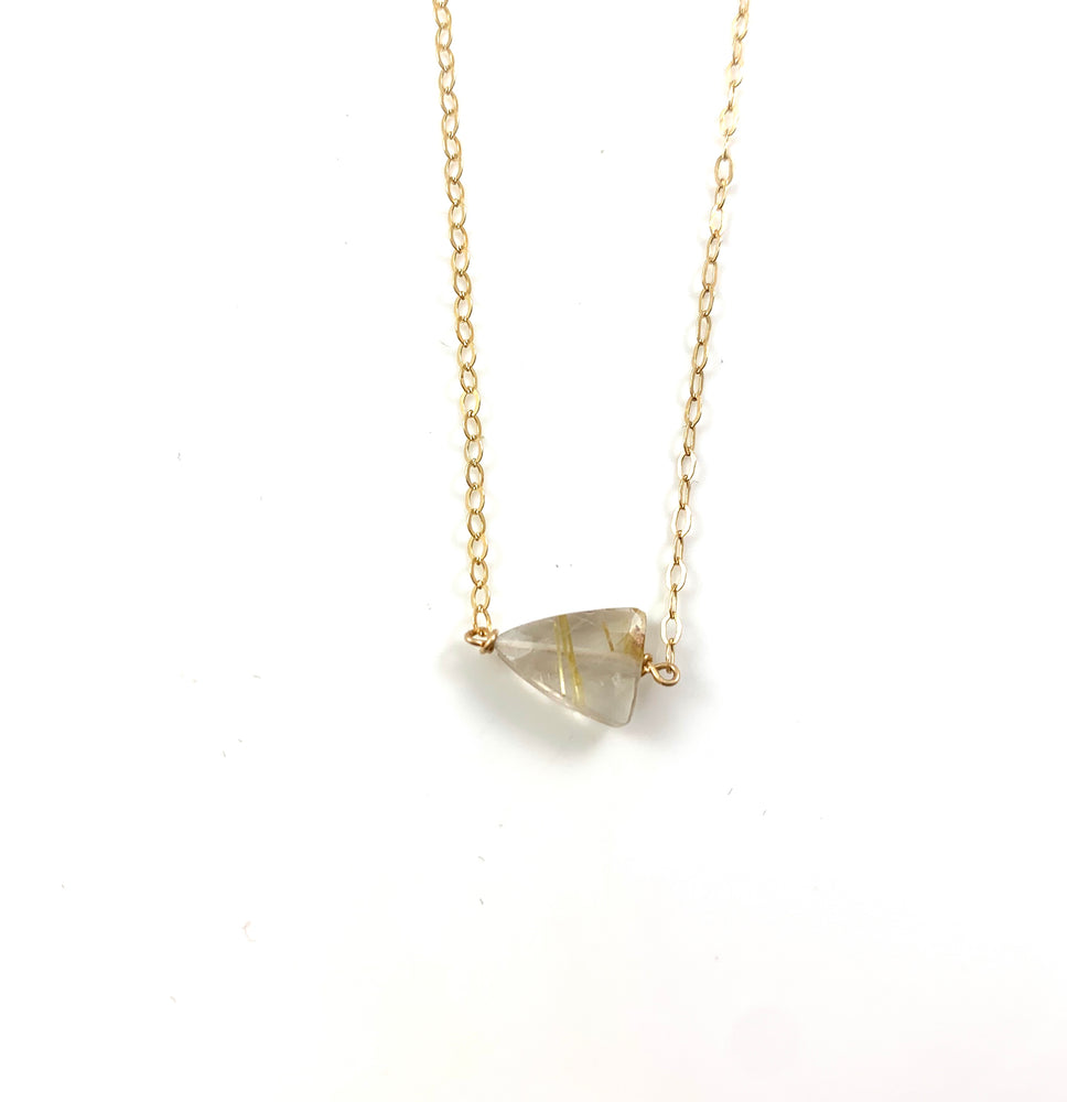 Golden Rutile Quartz Simple Stone Necklace