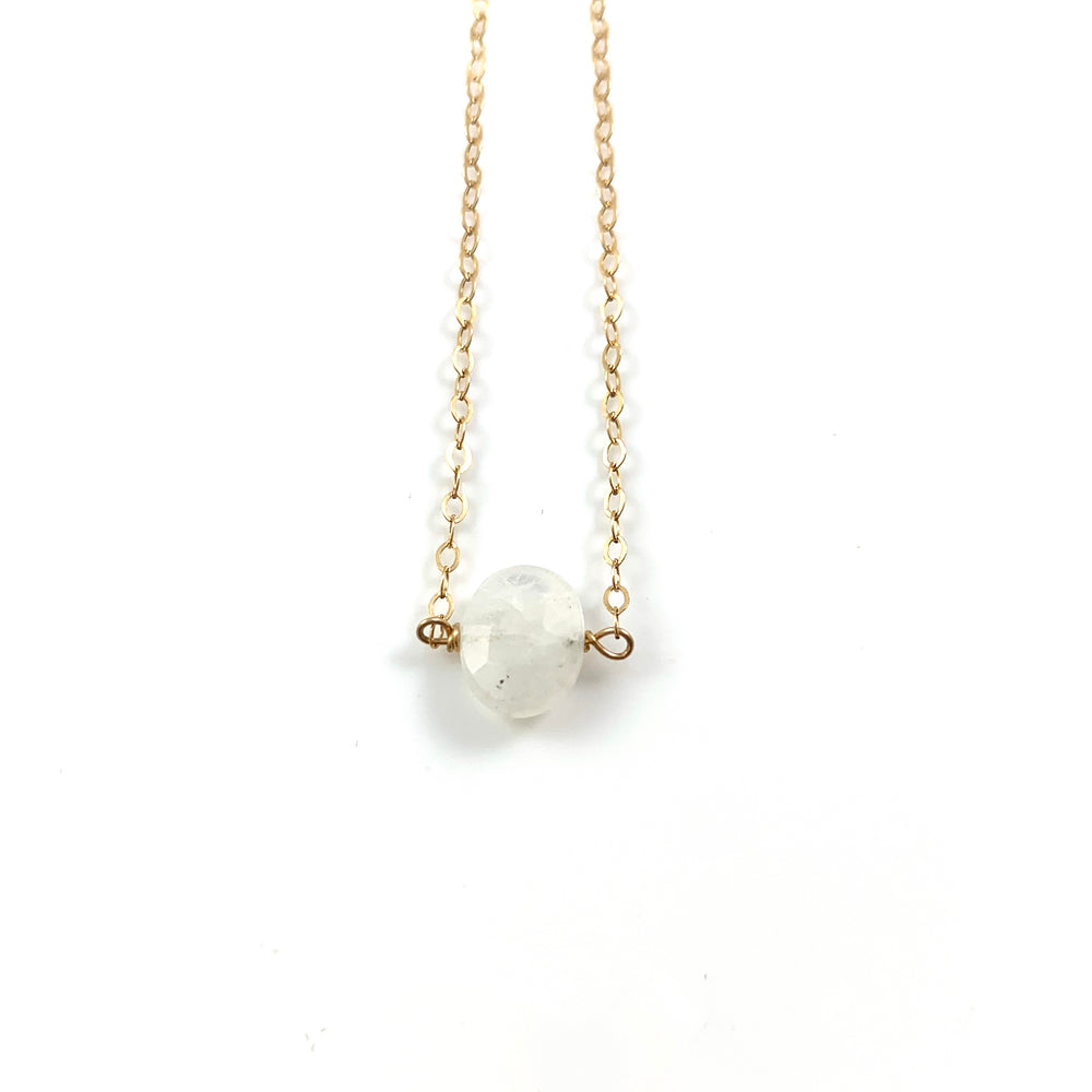 Simple Stone Necklace - White Moonstone