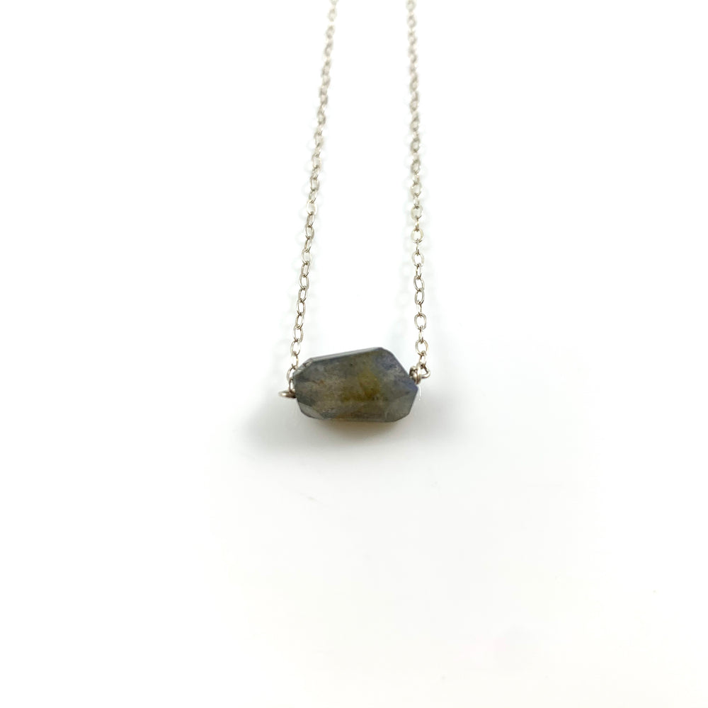Labradorite Simple Stone Necklace