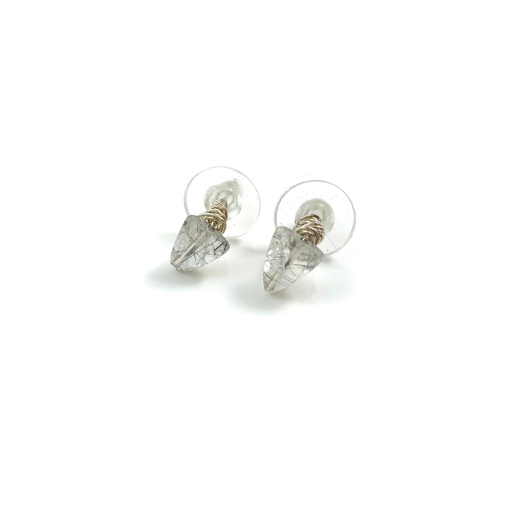 Sterling Silver Black Rutile Quartz Stud Earrings