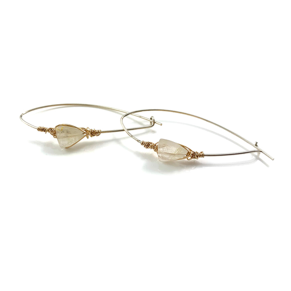 Latched Almond Earrings with Golden Rutile Quartz Stone