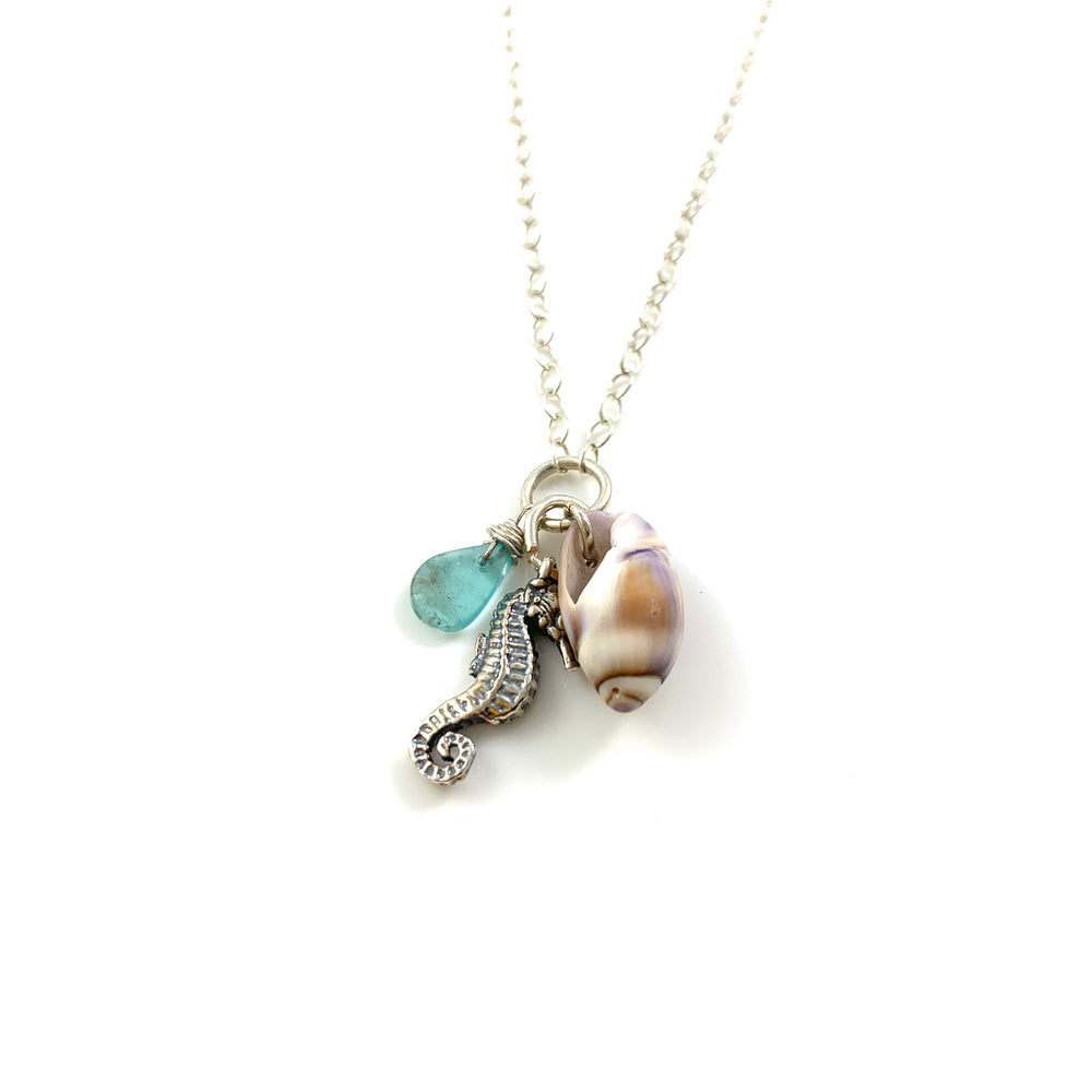 Sterling Silver Beach Treasure Seahorse Charm and Apatite Necklace