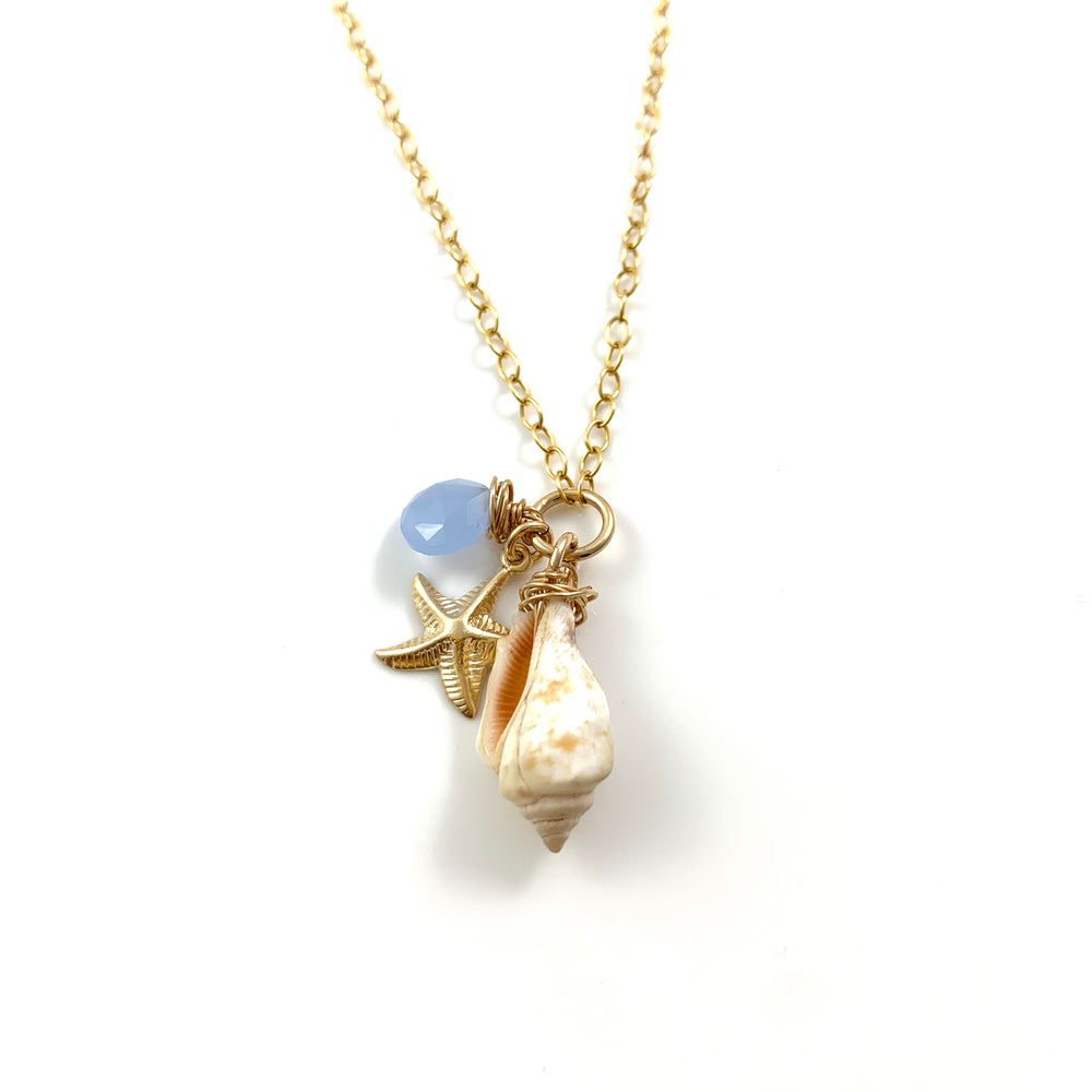14k Gold Fill Beach Treasure Sea Star Charm and Blue Chalcedony Necklace
