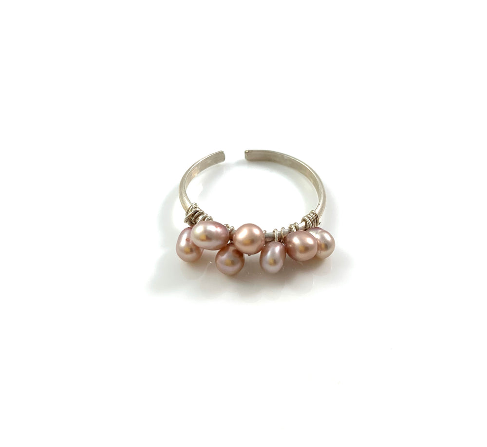 Sterling Silver Adjustable Pink Pearl Ring
