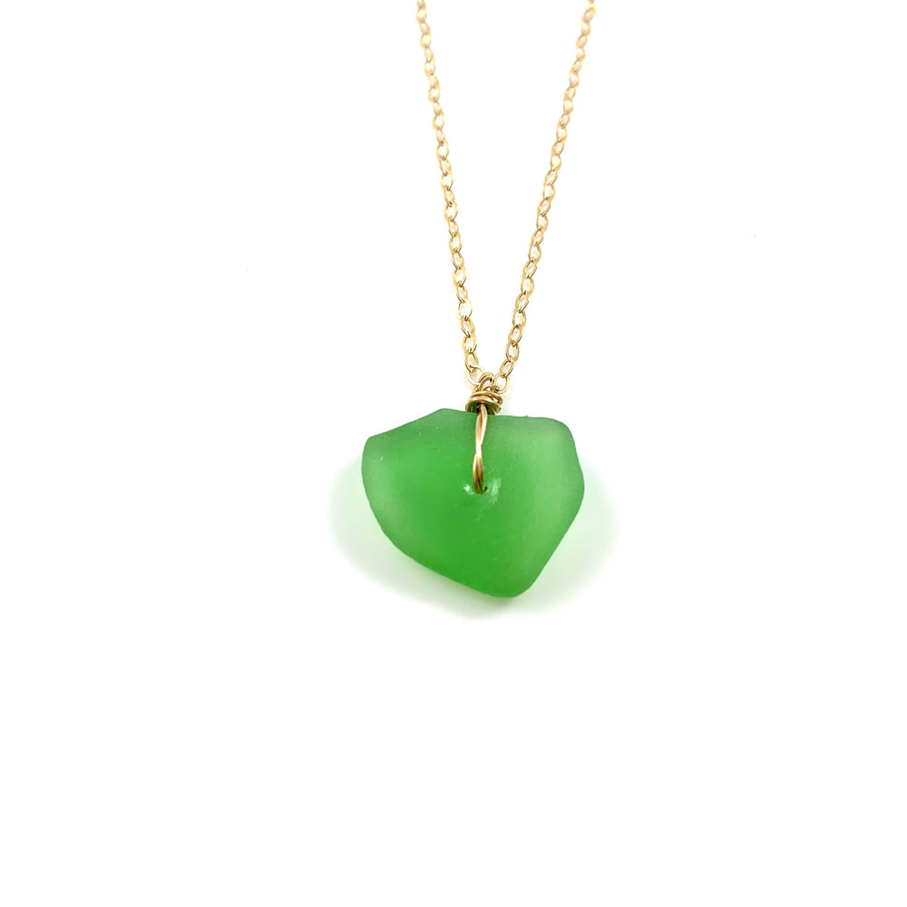 Simple Green Beach Glass Necklace