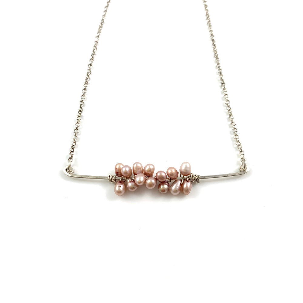 Pink Fresh Water Pearls on a Sterling Silver Bar Necklace