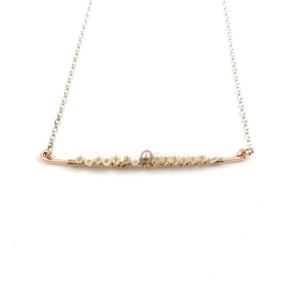 White and Pink Fresh Water Pearls on a Rose Gold Fill Bar Necklace