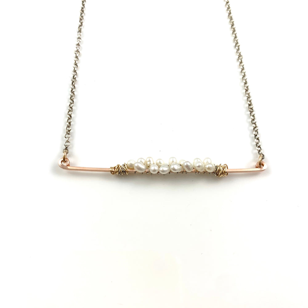 White Fresh Water Pearls on a Rose Gold Fill Bar Necklace