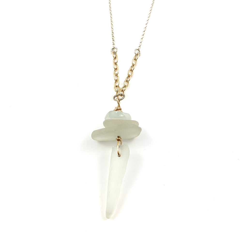 Long Beach Treasure Necklace - White Beach Glass