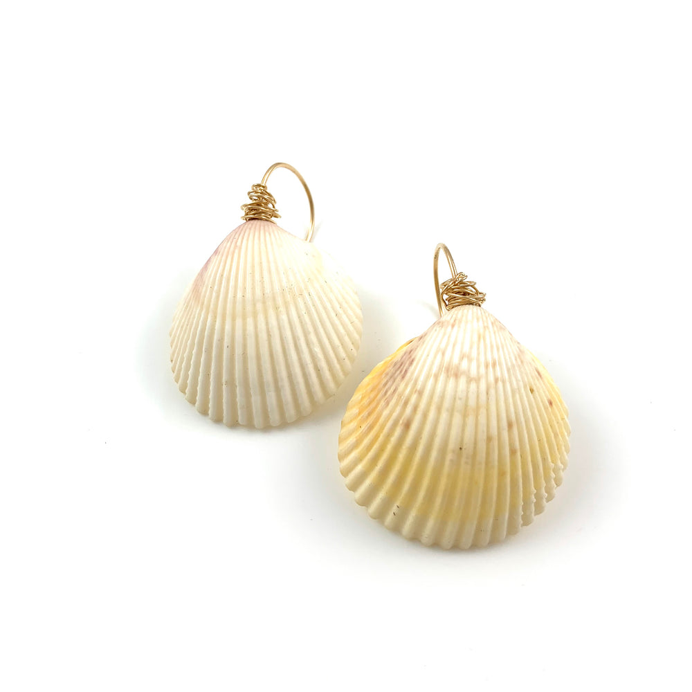 Large White Clamshell Earrings