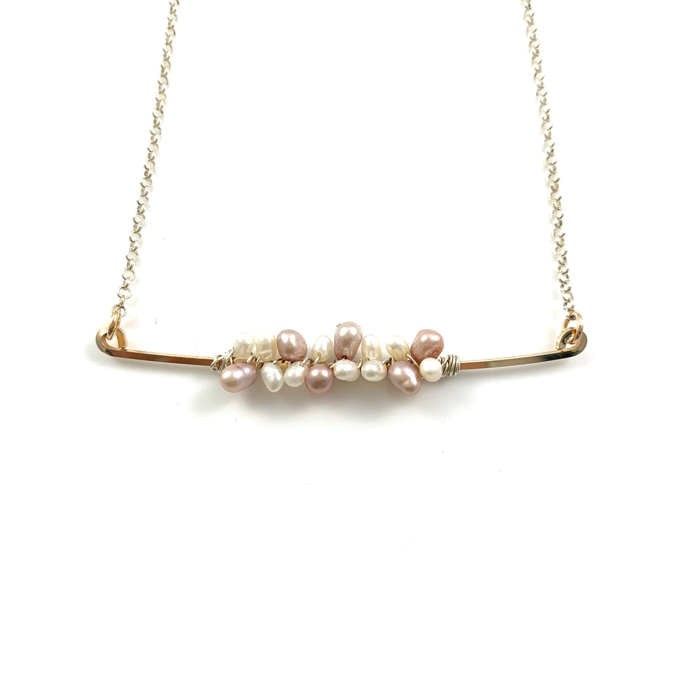 White and Pink Fresh Water Pearls on a Sterling Silver Bar Necklace