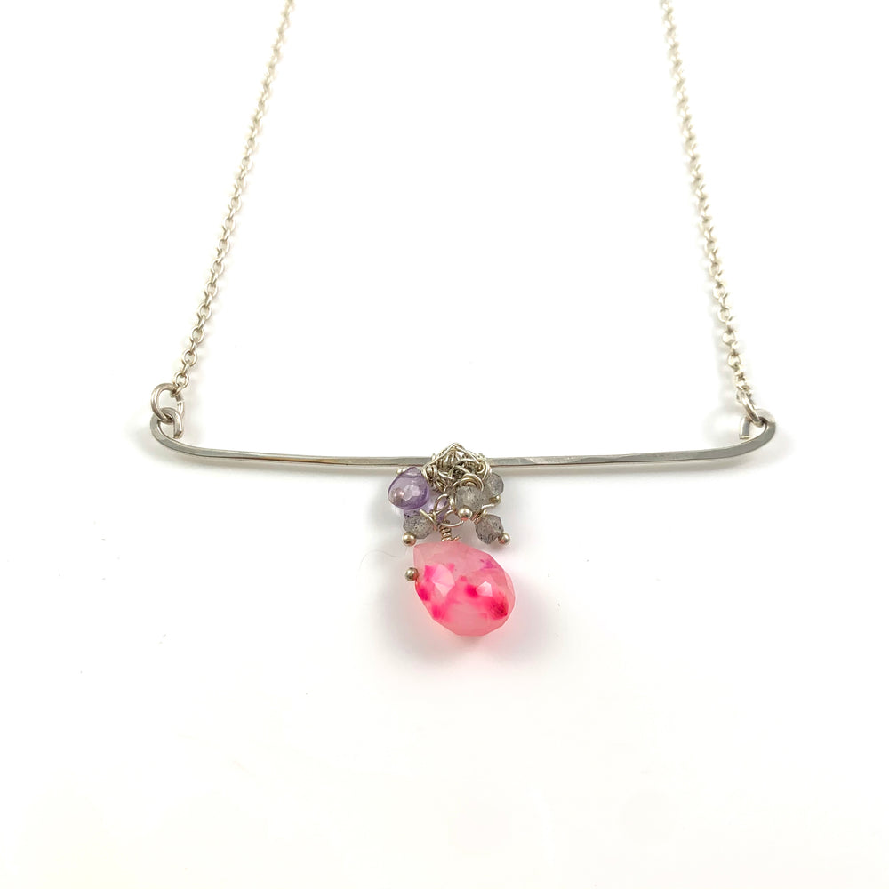 Tasteful Little Taste Necklace - Pink Chalcedony, Amethyst & Labradorite