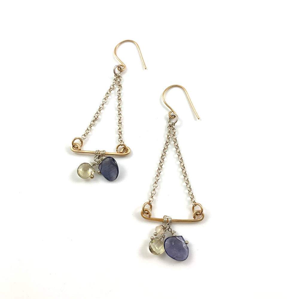 Trapeze Artist Earrings - Iolite, Lemon Quartz & Citrine