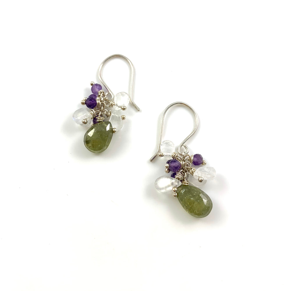 Juicy Drops - Green Garnet, White Moonstone, Amethyst