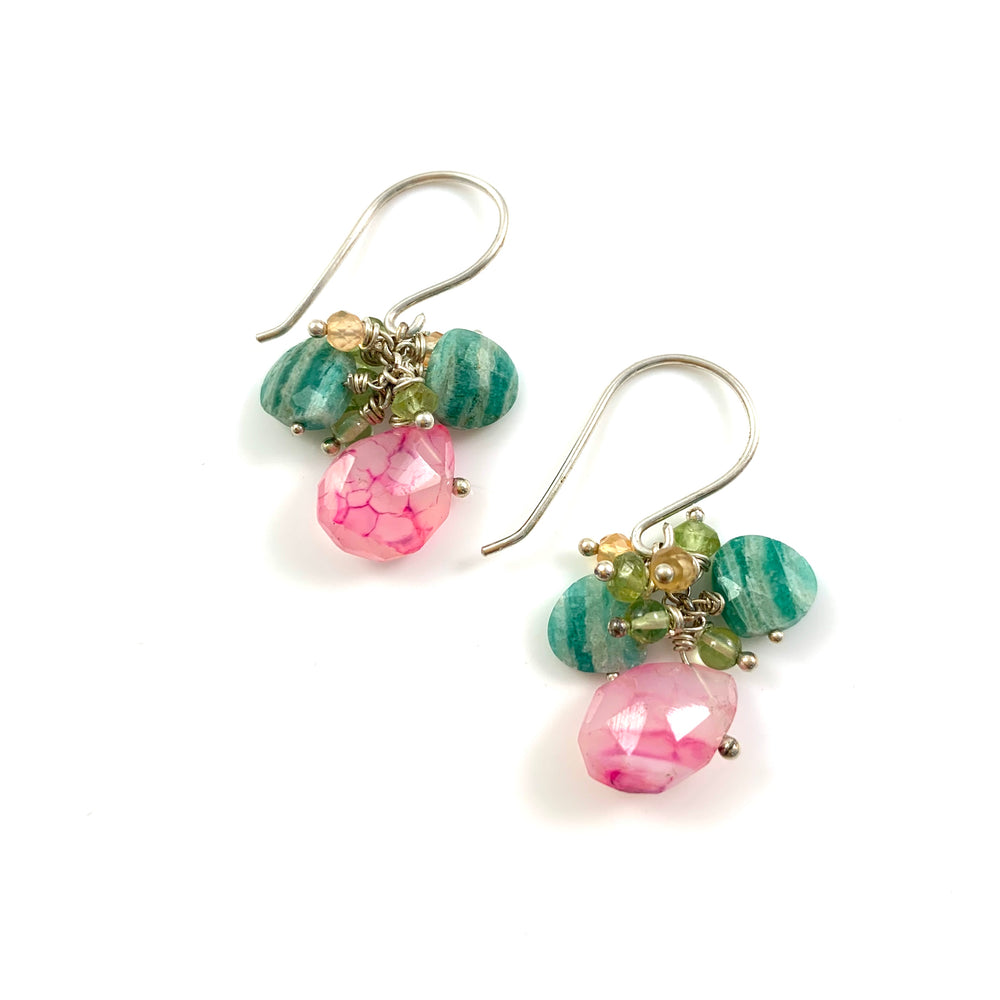 Juicy Drops - Pink Chalcedony, Russian Amazonite, Peridot, Citrine
