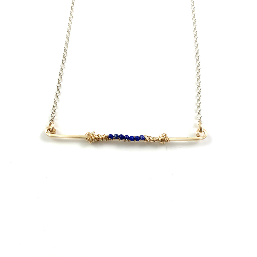 Lapis Lazuli on 14k Gold Fill Bar Necklace