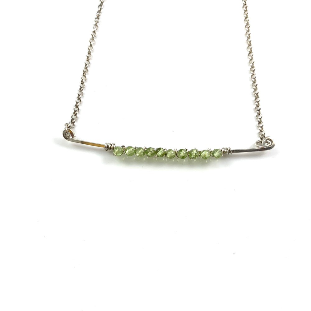 Peridot on a Sterling Silver Bar Necklace
