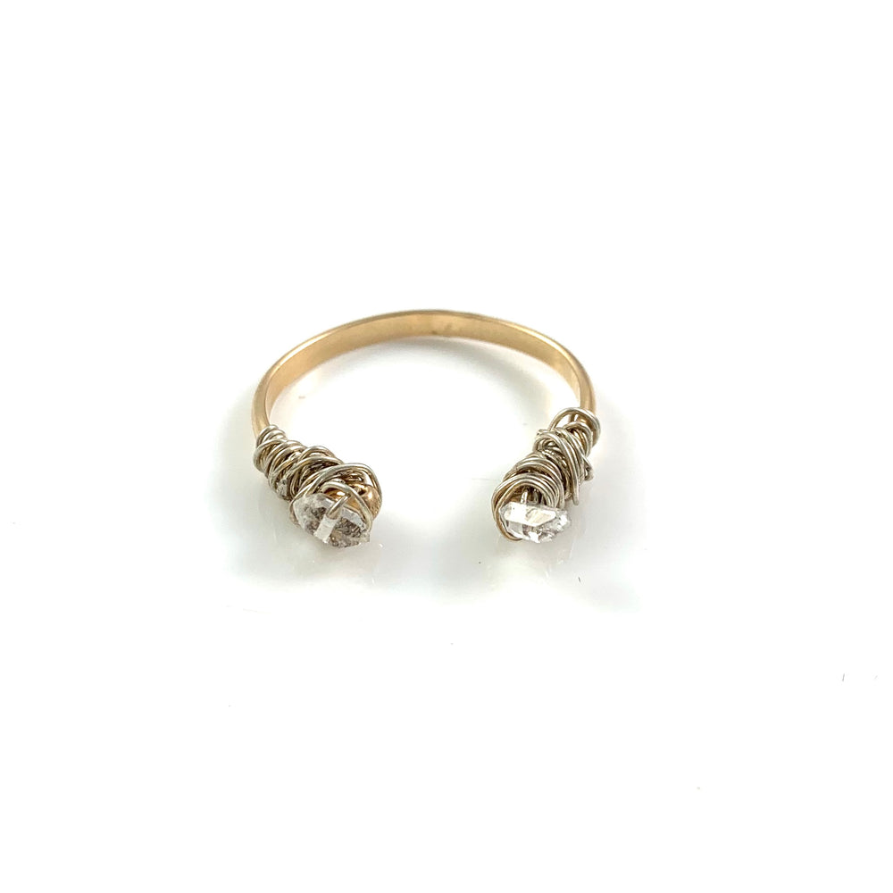 Adjustable Herkimer Diamond Open Cuff Ring