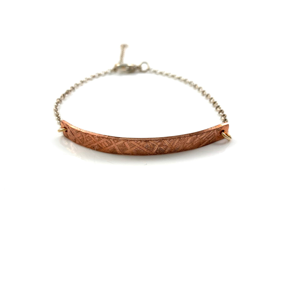Criss Cross Texture Copper Bar Bracelet