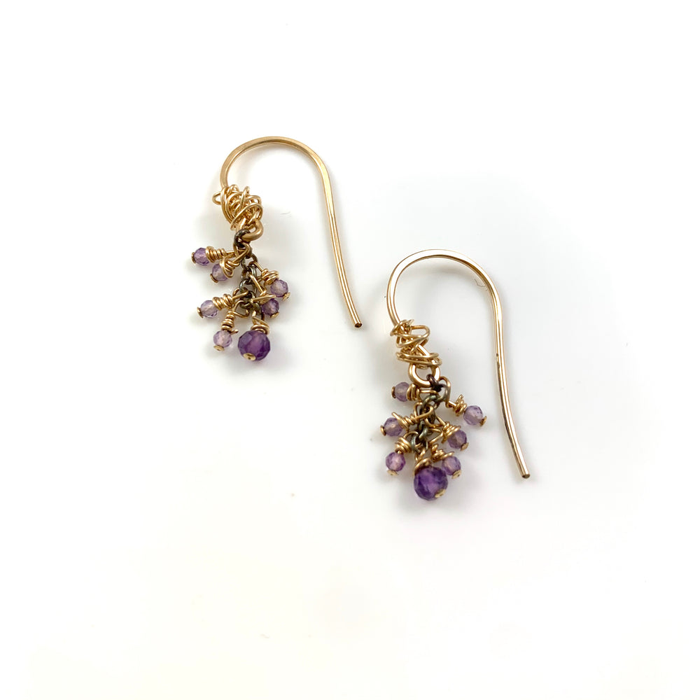 Seven Stone Amethyst Earrings