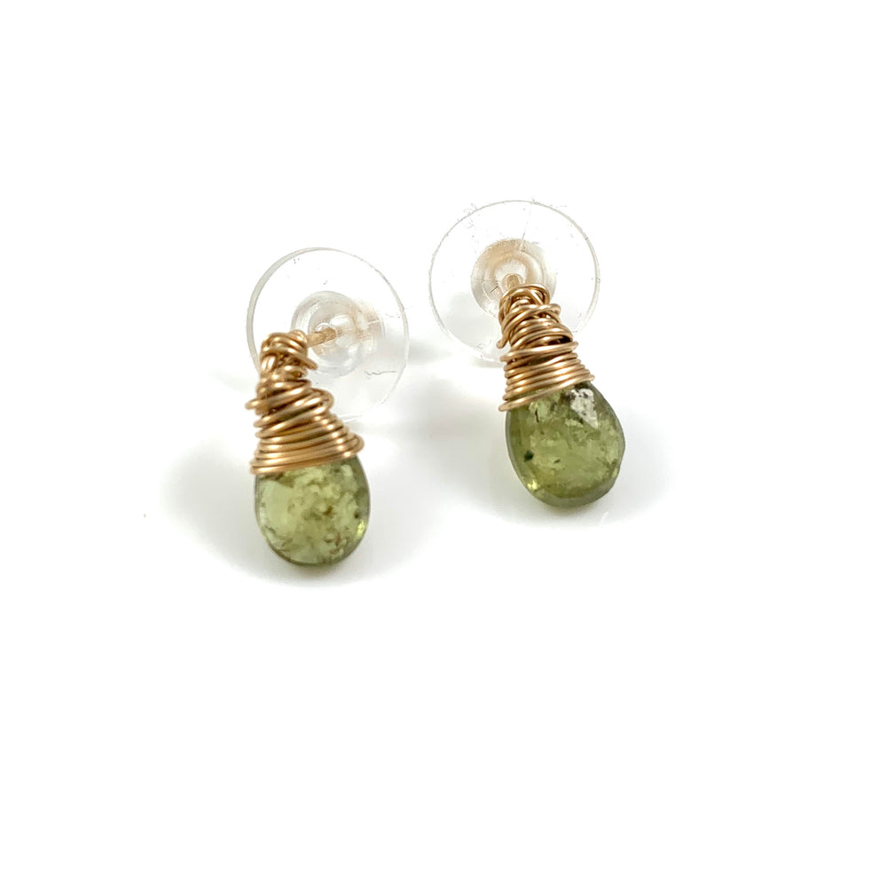 14k Gold Fill Green Garnet Stud Earrings