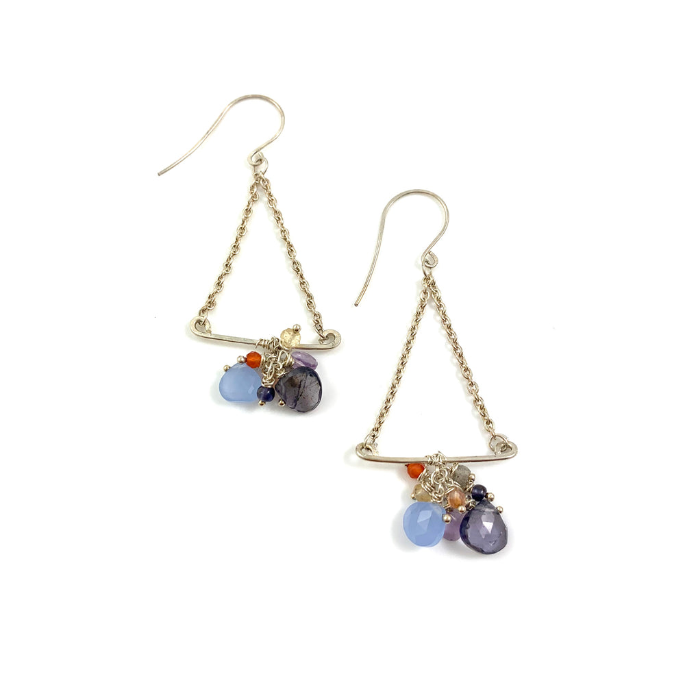 Trapeze Artist Earrings - Blue Chalcedony, Iolite, Labradorite, Citrine and Carnelian