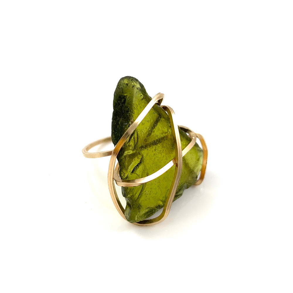14k Gold Fill Moss Green Beach Glass Ring Size 6.25