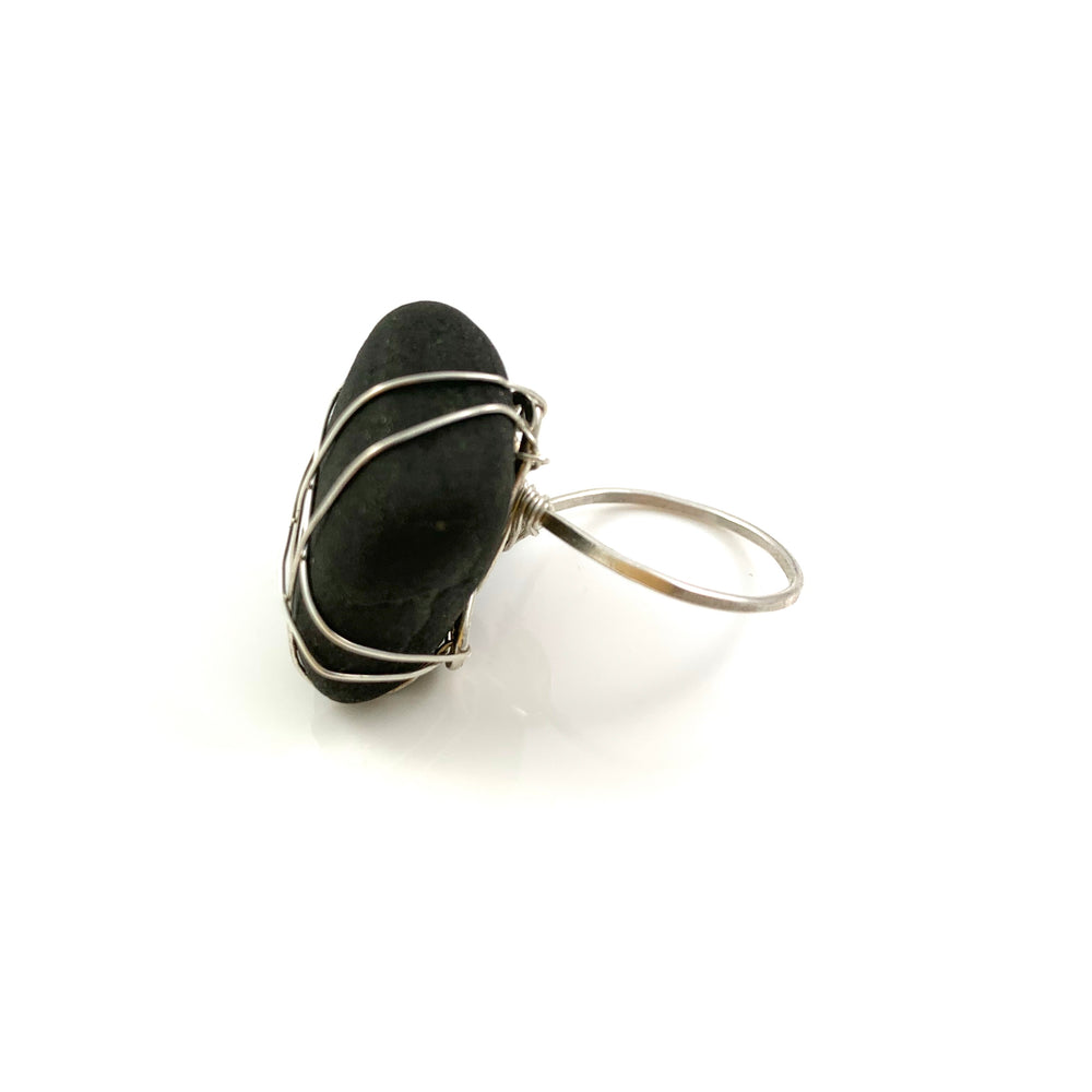 Sterling Silver Beach Treasure Rock Ring Size 7.25