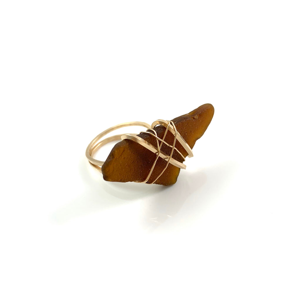Copy of 14k Gold Fill Brown Beach Glass Ring Size 7