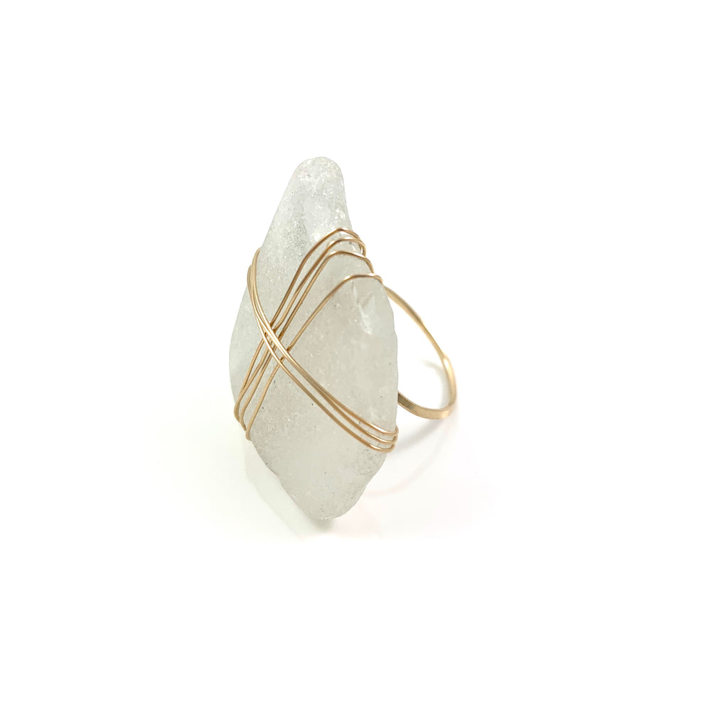 14k Gold Fill Frosty White Beach Glass Ring Size 7