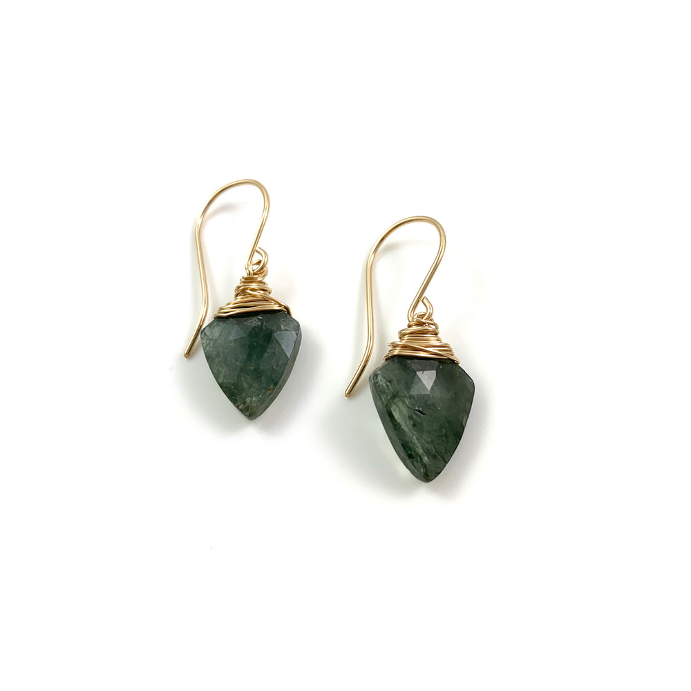 14k Gold Filled Moss Aquamarine Arrowhead Earrings