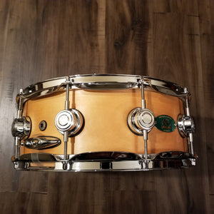 "VERY RARE - DW Craviotto Solid Maple Shell Snare 14"" x 5.5"" - Green Badge"