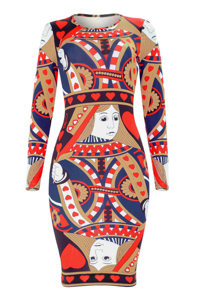 Pomiss  Casual Geometric Printed Slim Knee Length Dress