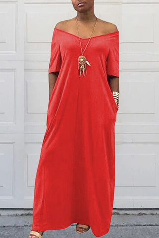 Pomiss Casual Pockets Floor Length Dress