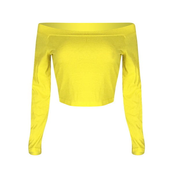 Pomiss Casual Dew Shoulder Yellow T-shirt
