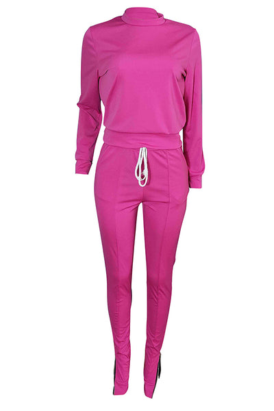 Pomiss  Zipper Design  Blending Two-piece Pants Set