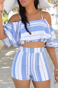 Pomiss Casual  Striped  Two-piece Shorts Set