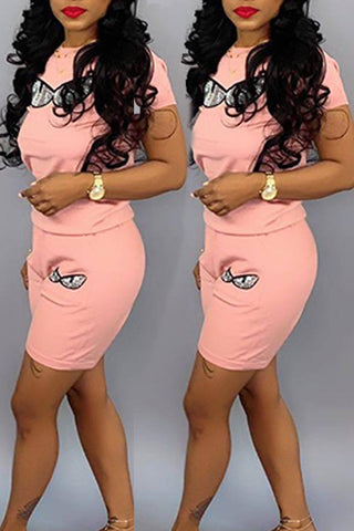 Pomiss Leisure Printed Light Pink Two-piece Shorts Set