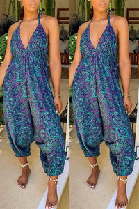 Pomiss Casual V Neck Printed Junpsuit
