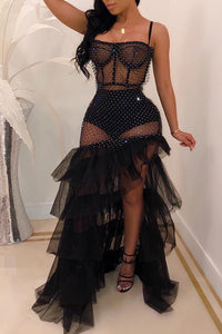 Pomiss Sexy See-through Patchwork Floor Length Dress