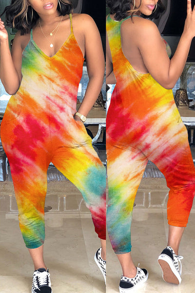 Pomiss Casual Tie-dye Loose Jumpsuit